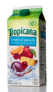 Miami, USA - April 29, 2013: Tropicana Tropical Punch flavored drink 59 FL OZ Tetra Pak carton. Tropicana brand is owned by Pepsi Co.